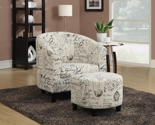 Transitional Vintage French Accent Chair with Ottoman image
