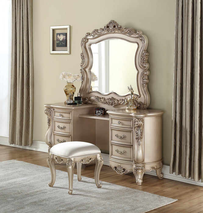 Gorsedd Antique White Vanity Desk & Mirror