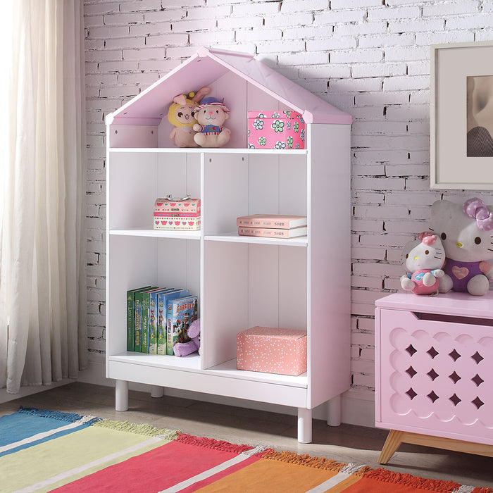 Doll Cottage White & Pink Bookcase