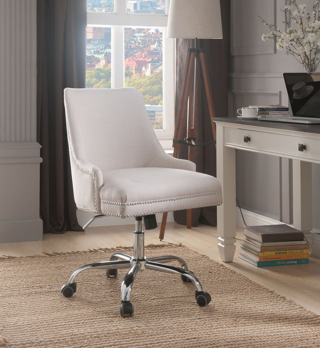 Yuval Beige Linen & Chrome Office Chair