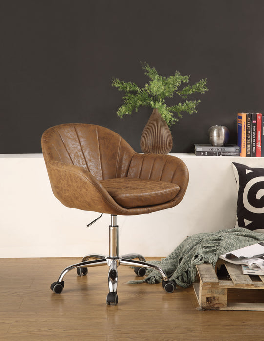Giolla Vintage Chocolate PU & Chrome Office Chair
