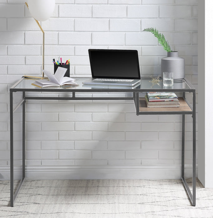 Yasin Gray & Glass Desk