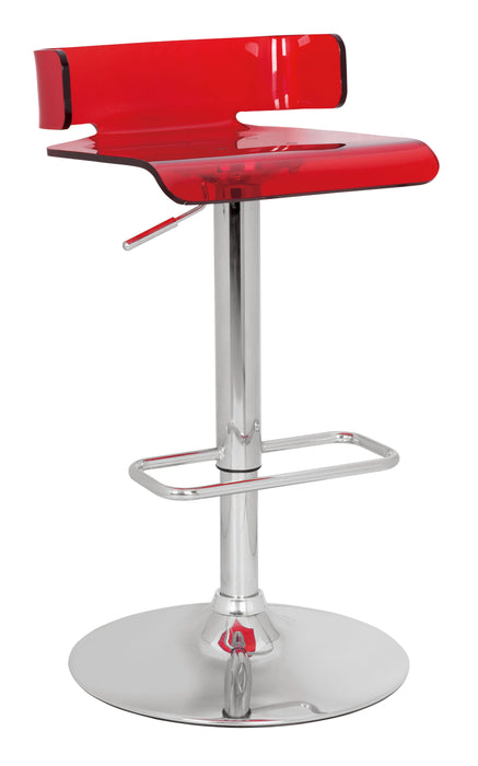 Rania Red & Chrome Adjustable Stool (1Pc)