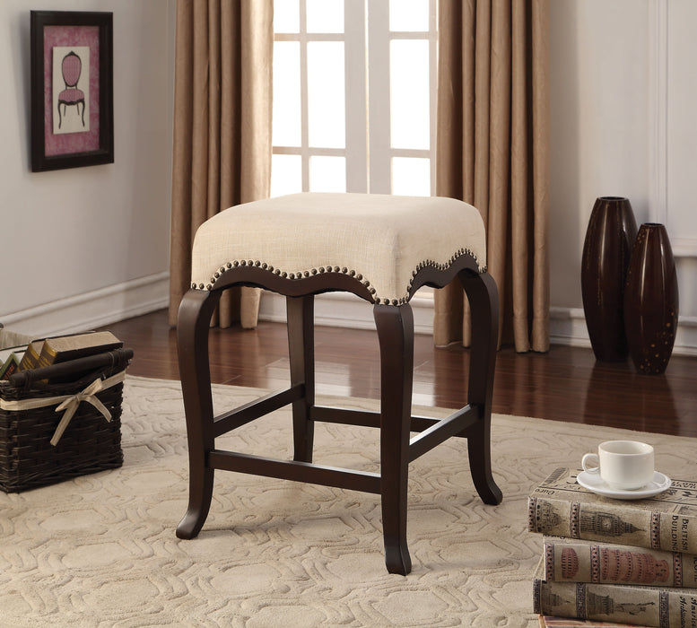Kakabel Cream Fabric & Espresso Counter Height Stool (1Pc)