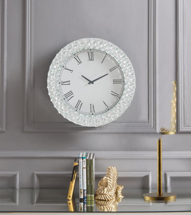 Lantana Mirrored & Faux Crystals Wall Clock