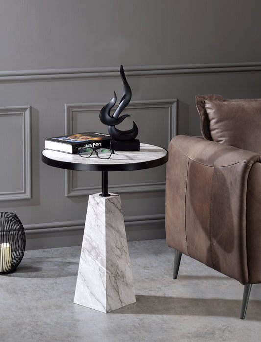 Galilahi Faux Marble & Black Side Table