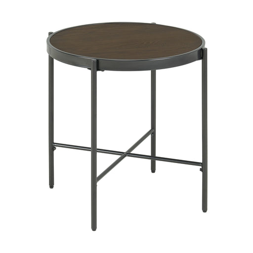 Vienna Round End Table with Wooden Top image