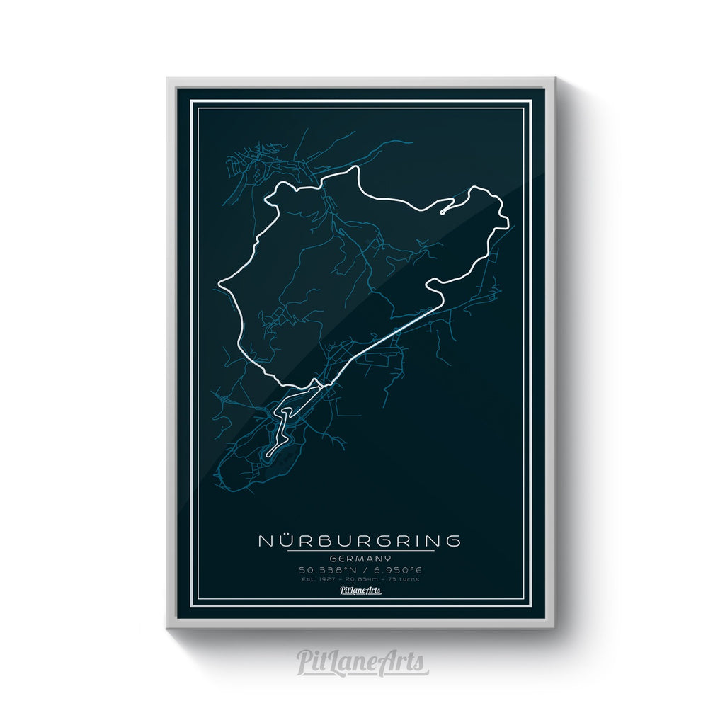 Nurburgring race track dark blue print