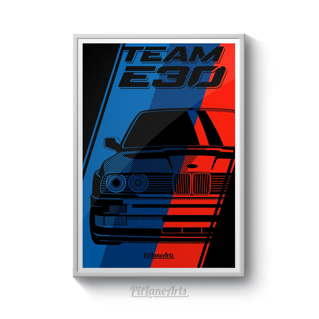 E30 poster print framed on wall