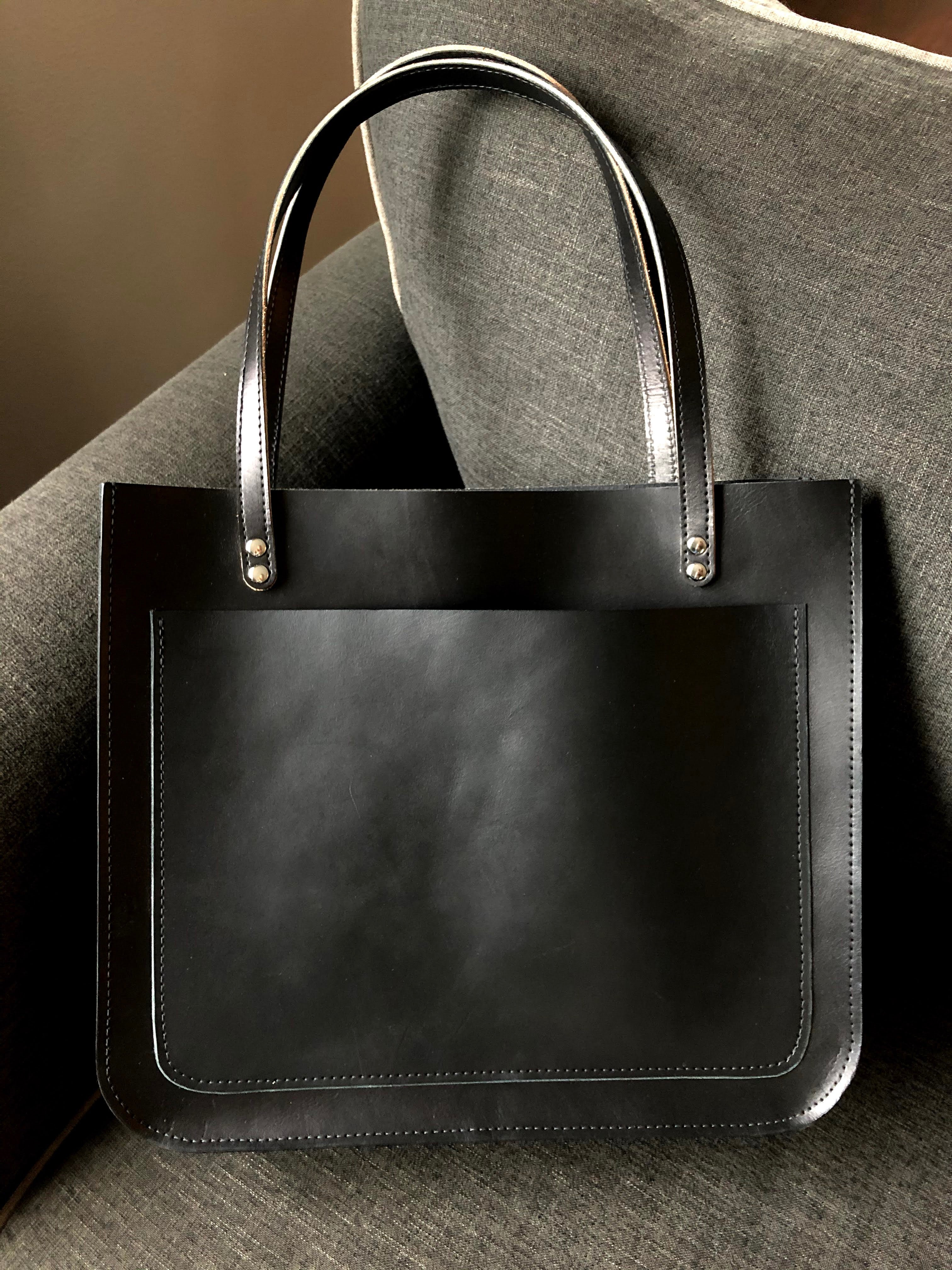 Structured Tote / Large Leather Tote Bag / Leather Tote With Pocket