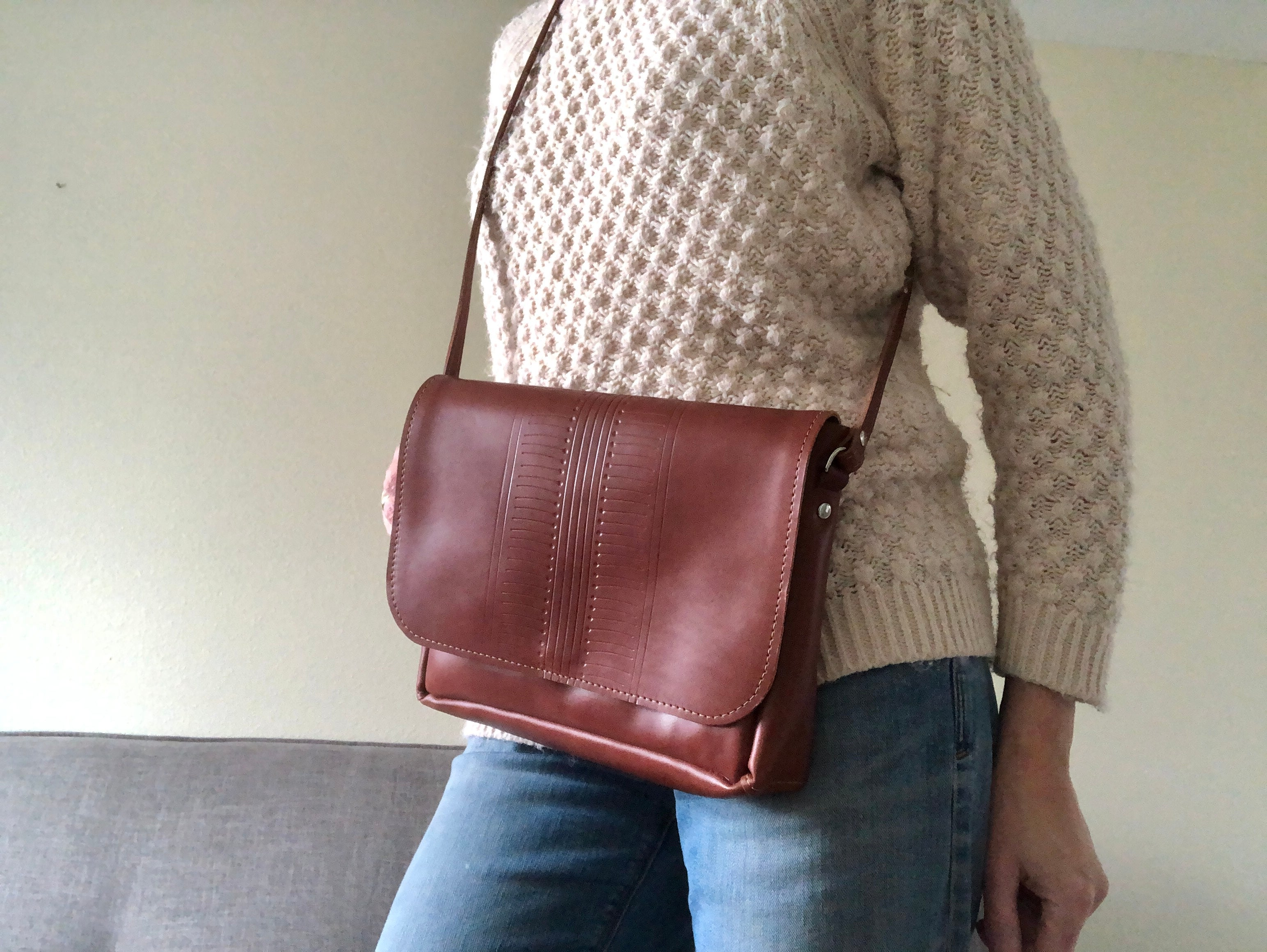 Brown Crossbody Bag With Patterned Detail / Leather Crossbody Purse