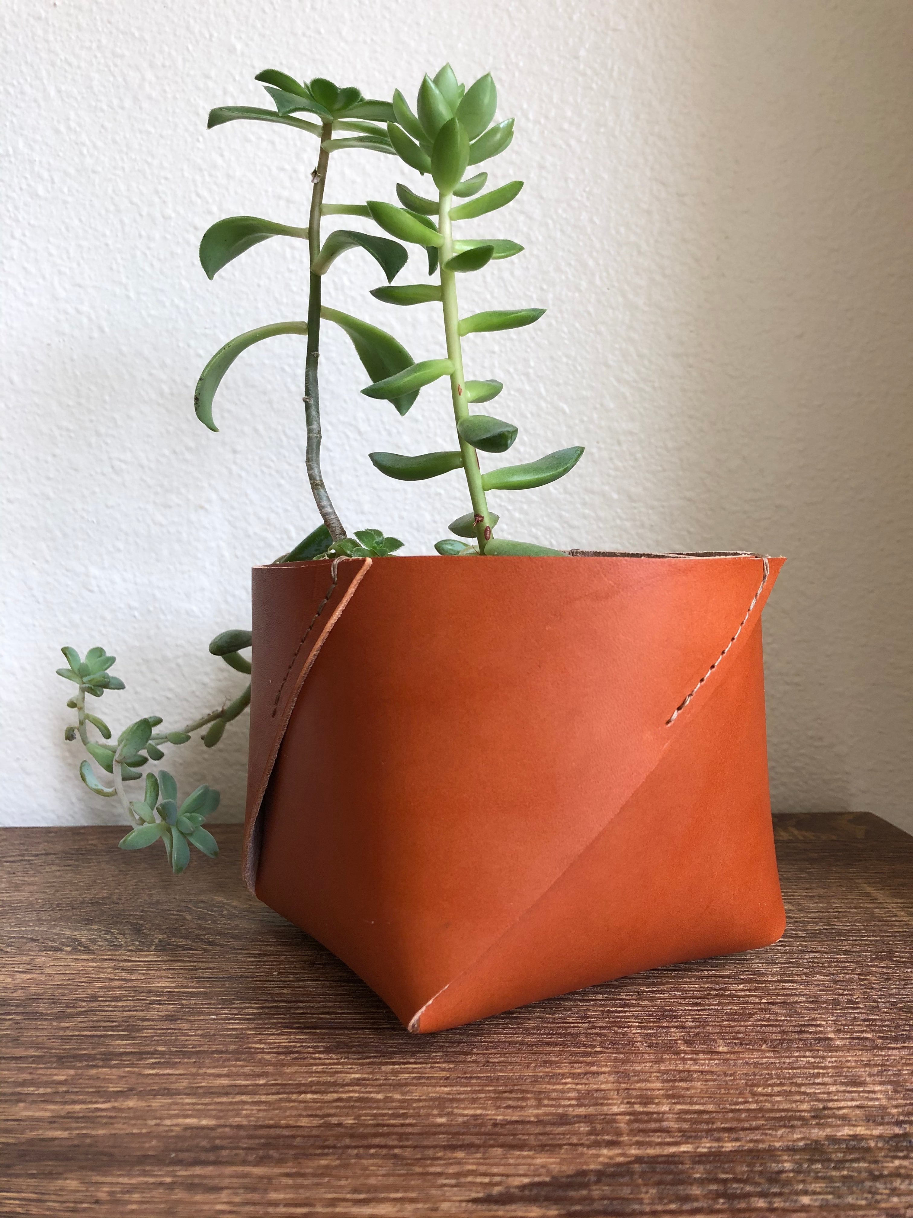 Leather Planter, Leather Container, Leather Box