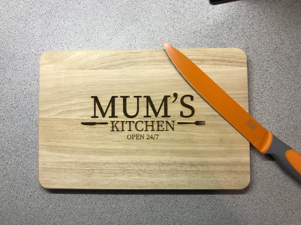 Mums kitchen wooden chopping board. Engraved cutting board. Perfect for serving cheese, bread etc. Perfect Christmas gift.