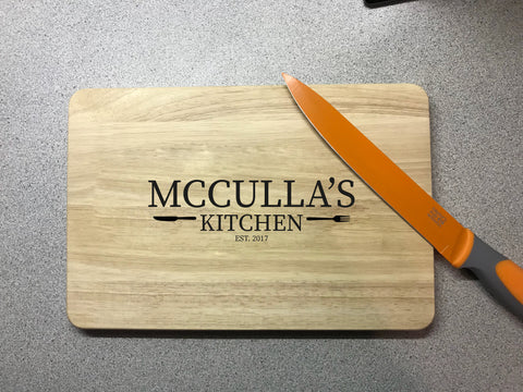 Personalised Surname & Date wooden chopping board. Engraved cutting board. Wedding Gift