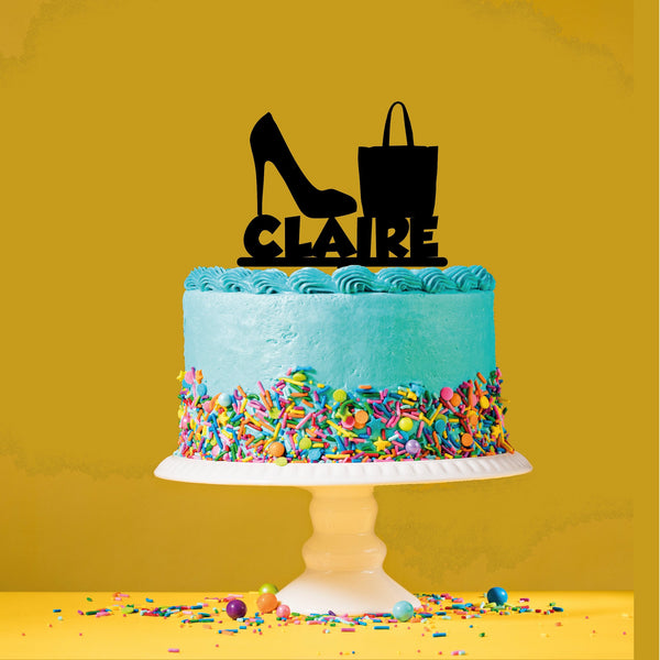 Personalised Name Fashion Themed Acrylic Cake topper. High heel and handbag