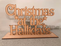 "Personalised Christmas sign ""at the family name sign"". Surname, Last Name freestanding Personalised ornament. Christmas bunting"