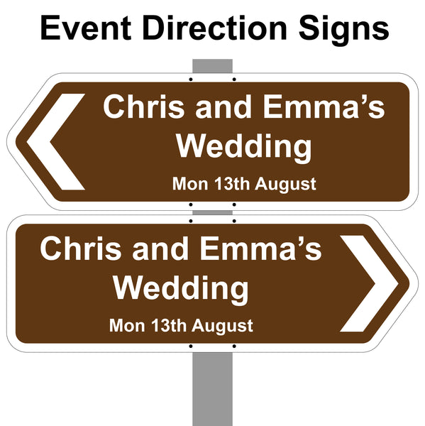 Personalised Wedding Day / Reception / Party Printed Direction signs. Aluminium Composite