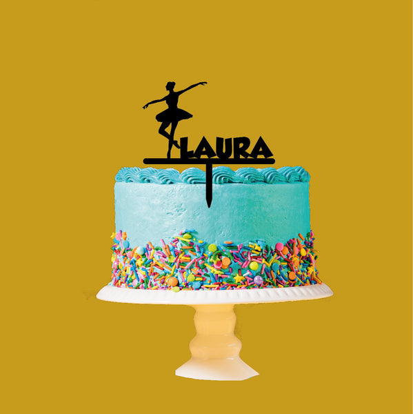 Personalised ballet themed birthday party Acrylic Cake topper. Range of colours