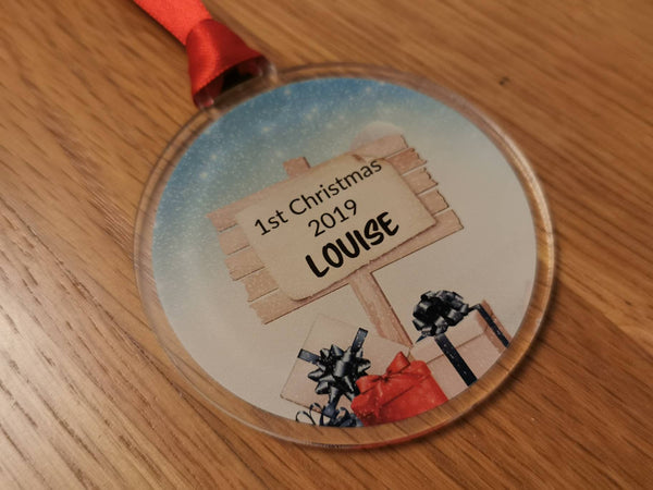 Personalised 1st Christmas bauble tree decoration. Personalised name.