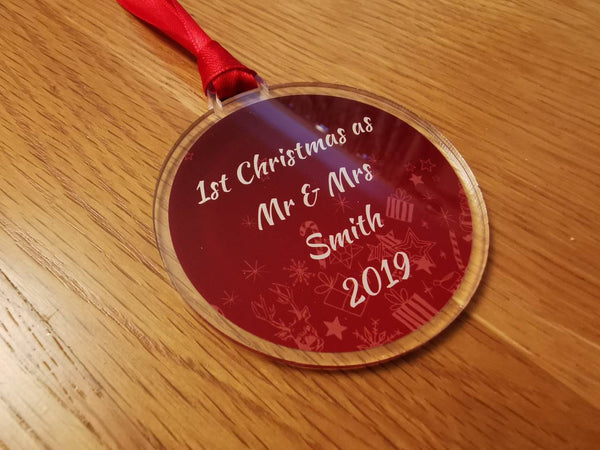 Personalised name 1st Christmas. Newly wed, married Mr and Mrs acrylic bauble