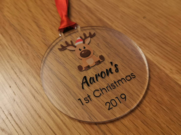 Personalised name 1st Christmas. Baby, new born reindeer acrylic bauble
