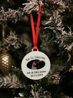 Personalised name and photo 1st Christmas as Mr and Mrs 2019 or wedding date