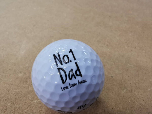 Personalised no. 1 Dad printed golf ball. Father's day gift