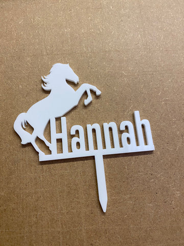 Personalised Horse jumping Acrylic Cake topper.