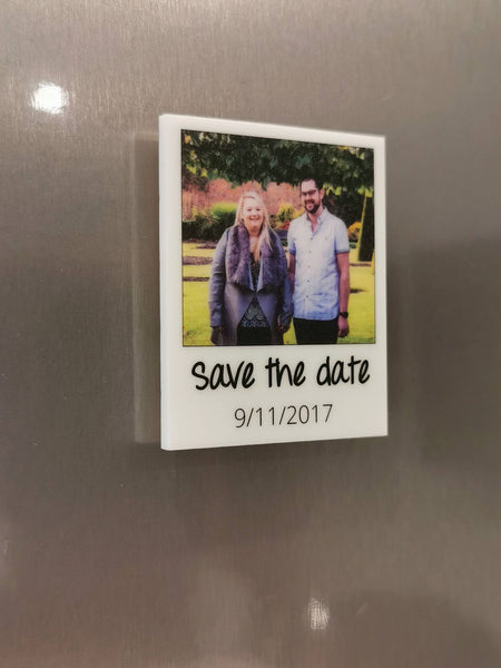 Save the date personalised photo fridge Magnet.