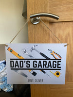 Personalised dads garage hanging sign