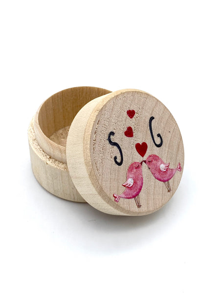 Personalised love birds Wedding Ring Box, Proposal, Engagement, Wedding Day