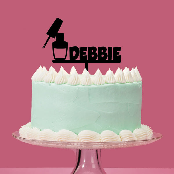 Personalised Nail polish Acrylic Cake topper. Beauty