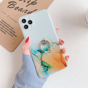 Vintage Colorful Marble Pattern Soft IMD Clear Phone Case