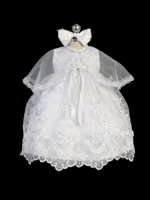 Infant Lace Dress With Bows And Cape 2266