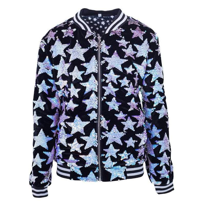 Black Starry Night Bomber Jacket