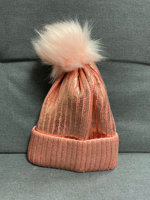 Rose Gold Shiny Beanie With Detachable Fluff