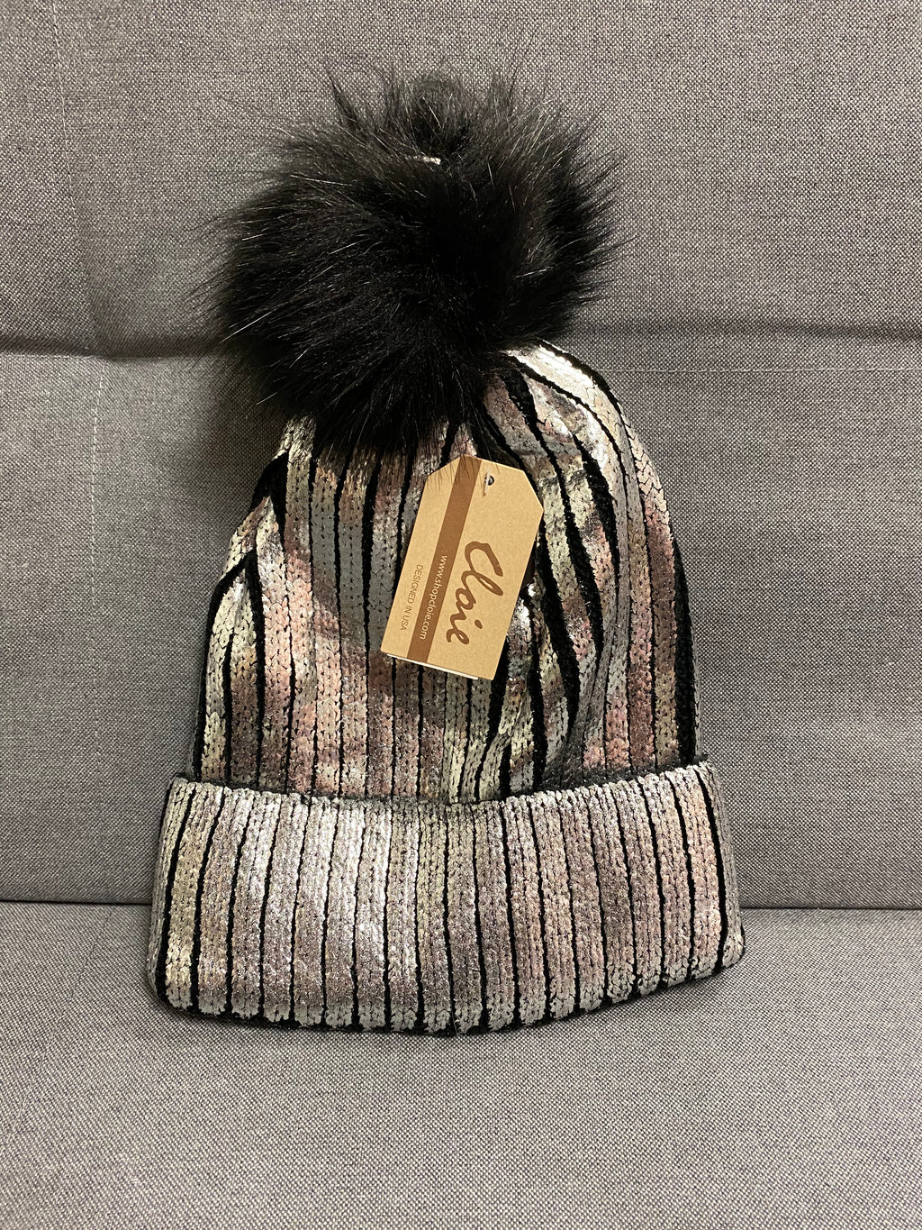 Black And Silver Beanie With Detachable Fluff