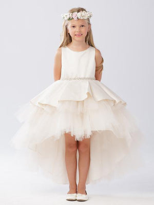 Ruffled Tulle High Low Dress-Bling Belt-LG 5743