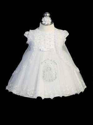 Embroidered Maria Infant Tulle Dress With Cape And Headband 2358