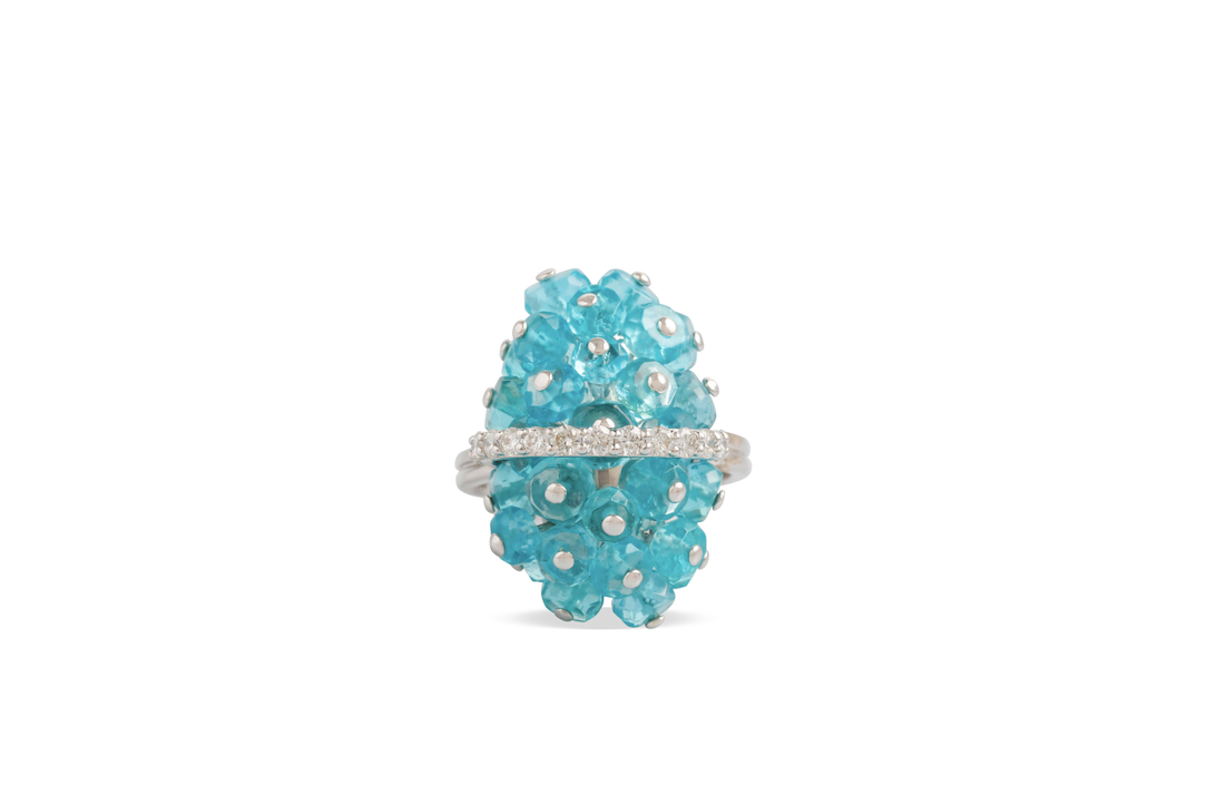 Apatite ring crafted with diamonds and 18k white gold