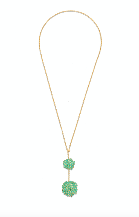 Double Orb Emerald Pendant with an 18K yellow gold chain