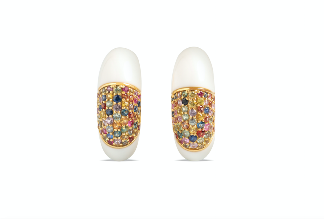 White Corian Earrings crafted with 18k yellow gold and  Multicolor Sapphires
