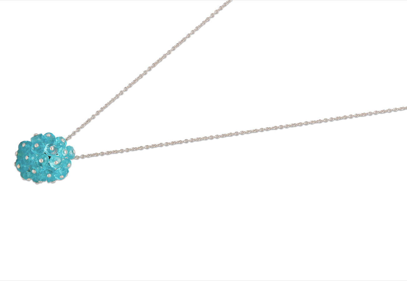 Apatite Orb Pendant with an 18k white gold chain