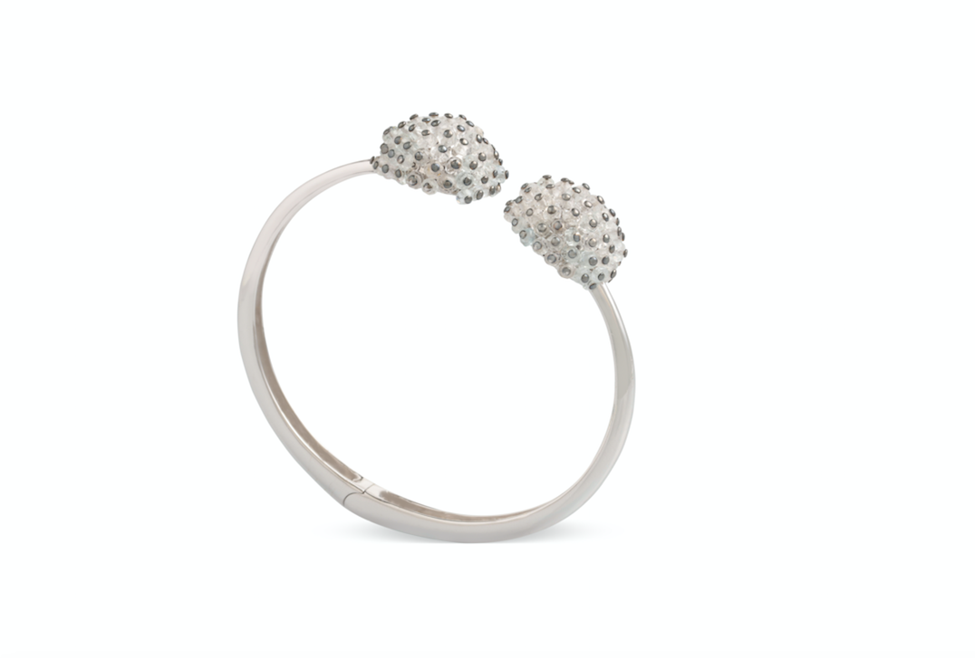 Double aquamarine Orb adjustable bangle crafted with 18k white gold