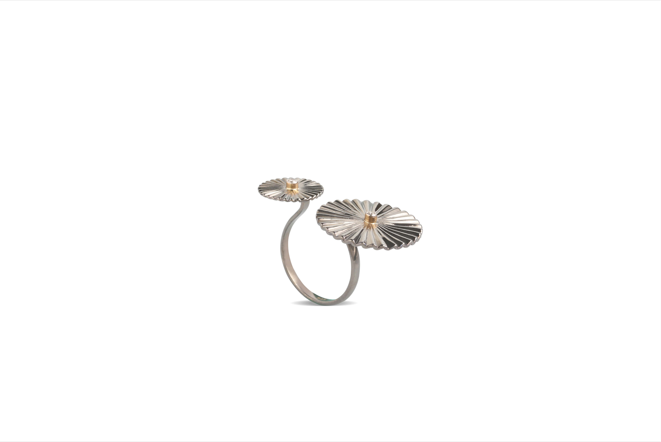 RING 18K YELLOW GOLD AND SILVER WITH FVVS1 DIAMOND