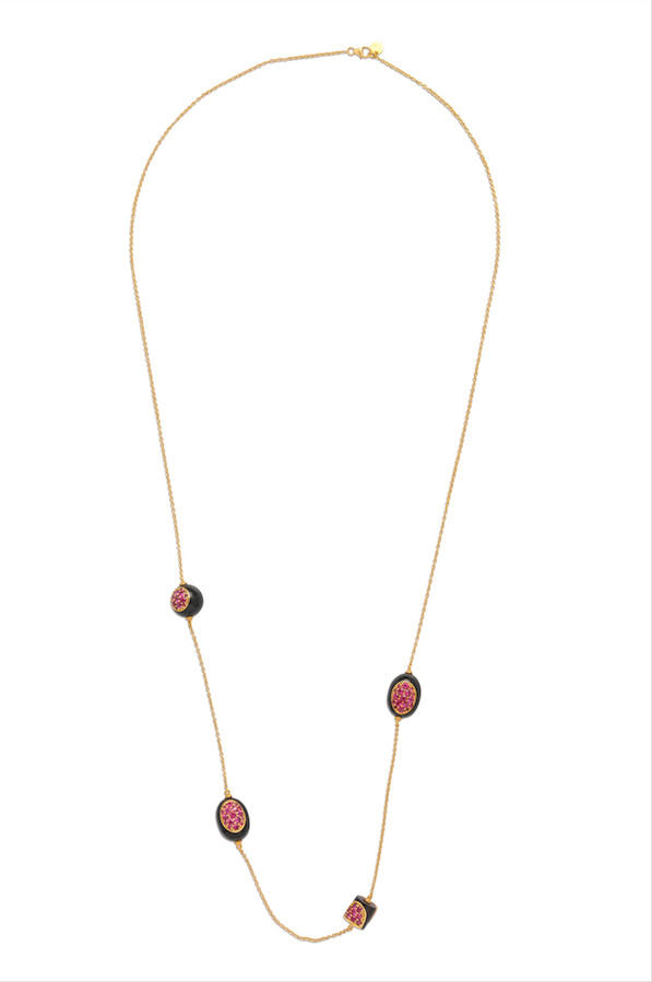 Black Corian NECKLACE in 18K YELLOW GOLD WITH BURMESE RUBIES
