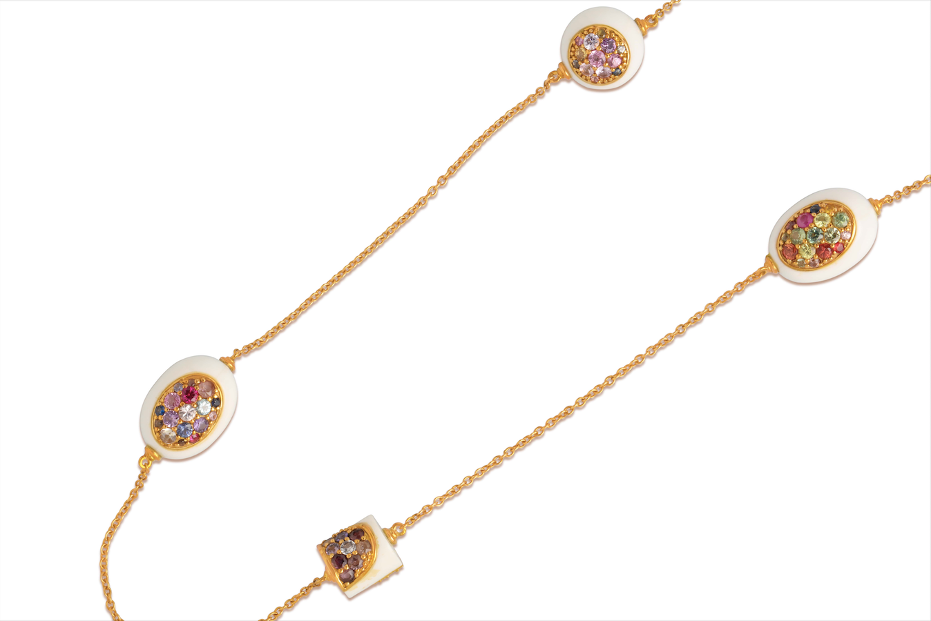 White Corian NECKLACE in 18K YELLOW GOLD WITH UNTREATED, UNHEATED, MULTICOLOR SAPPHIRES