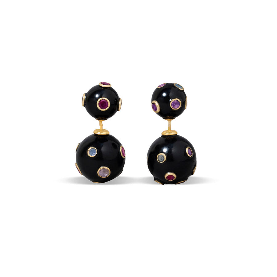 18k Yellow Gold with Multicolour Sapphire and Gold Black Corian Orb Earrings