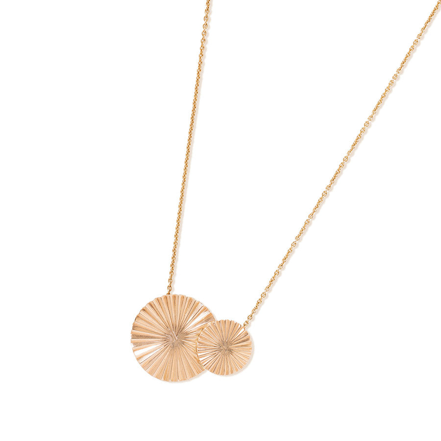 18k Gold Double Mulino Disk Pendant with Chain