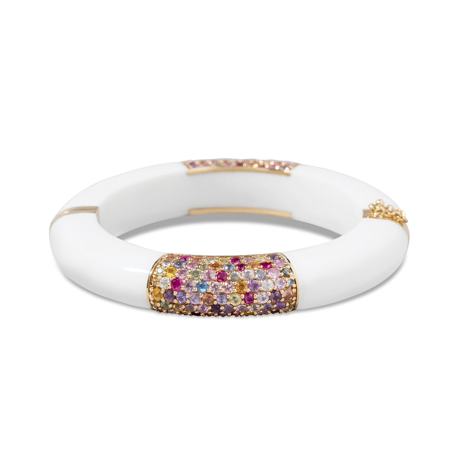 18k Yellow Gold with Multicolor Sapphire and White Corian Bracelet